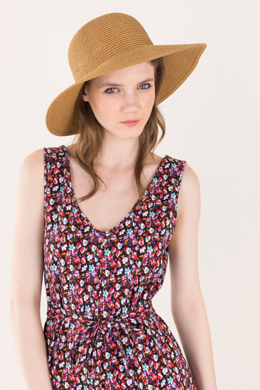 Flowered wide overalls