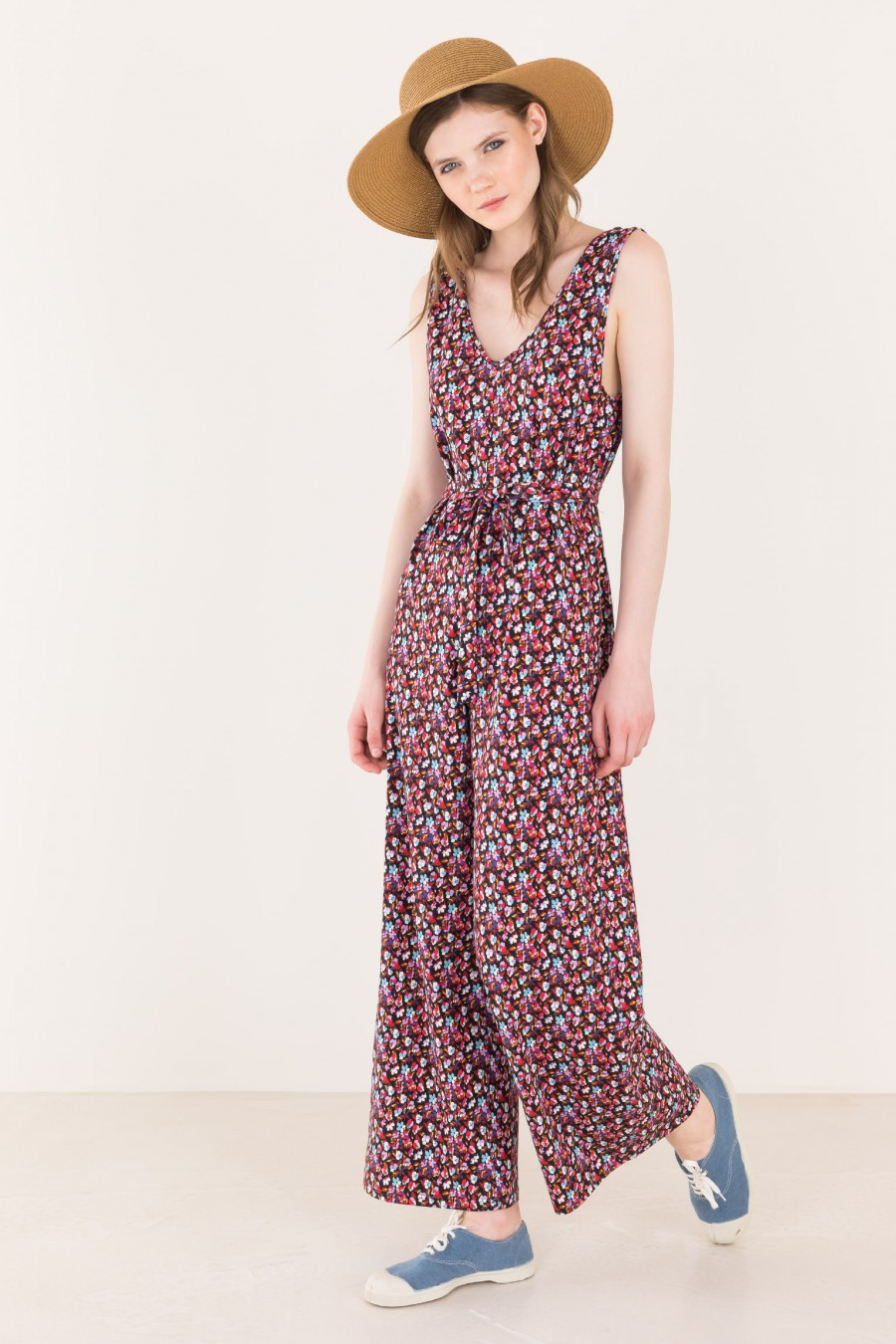 Overalls with flower print