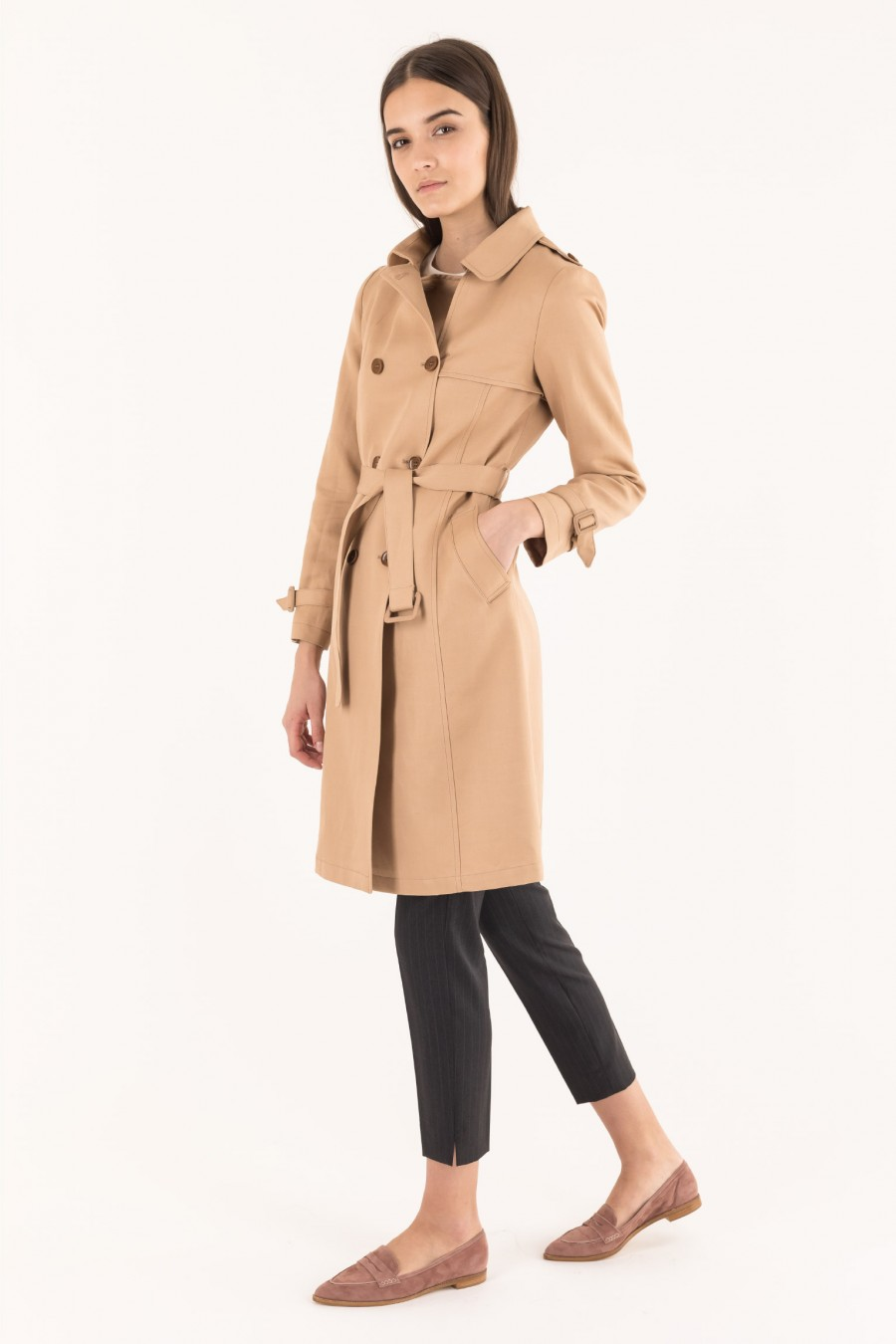 Lined beige trench