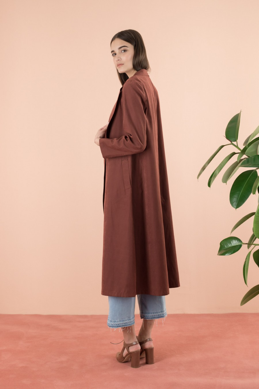 Burgundy overcoat with belt