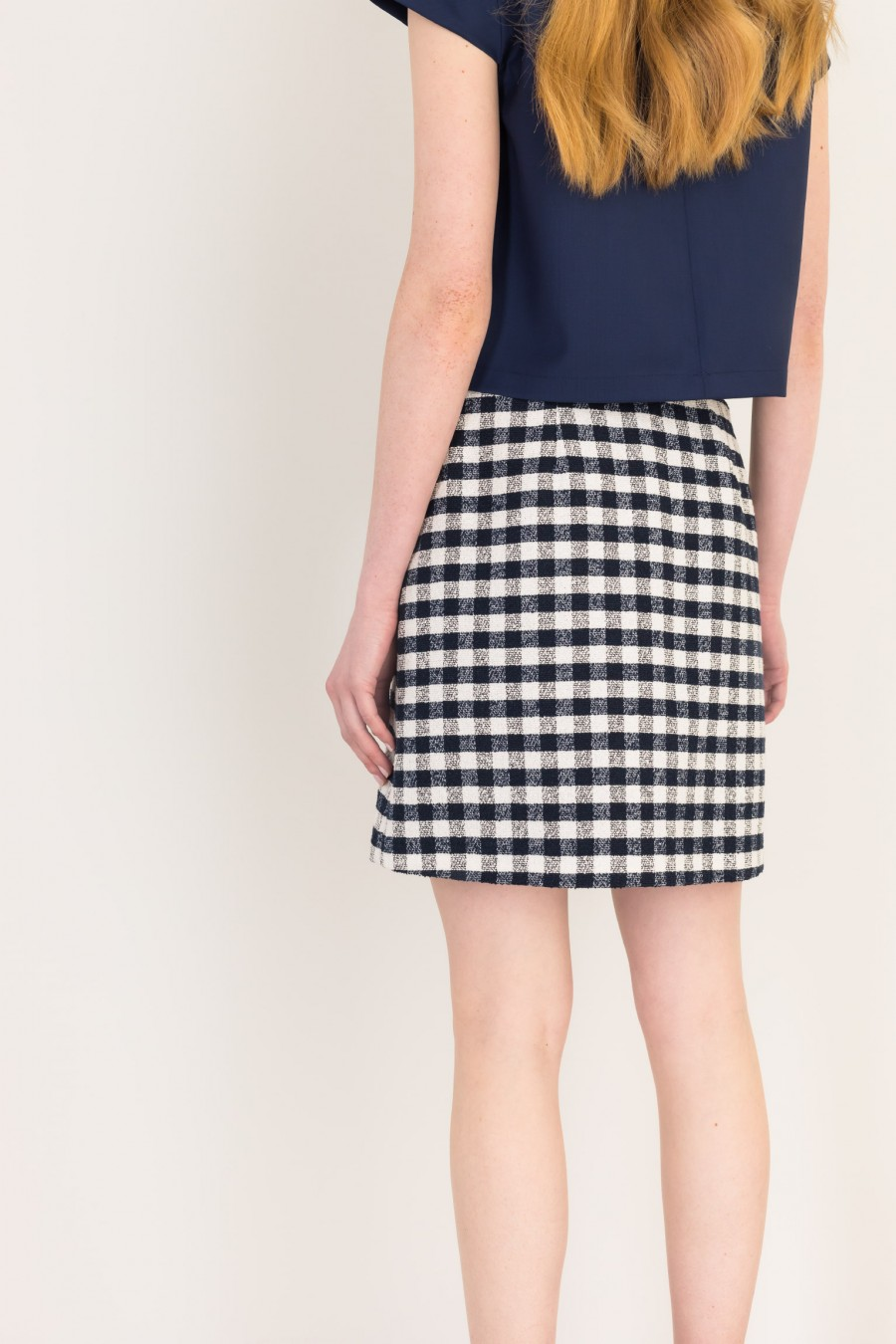 Blue and white wrap-over skirt