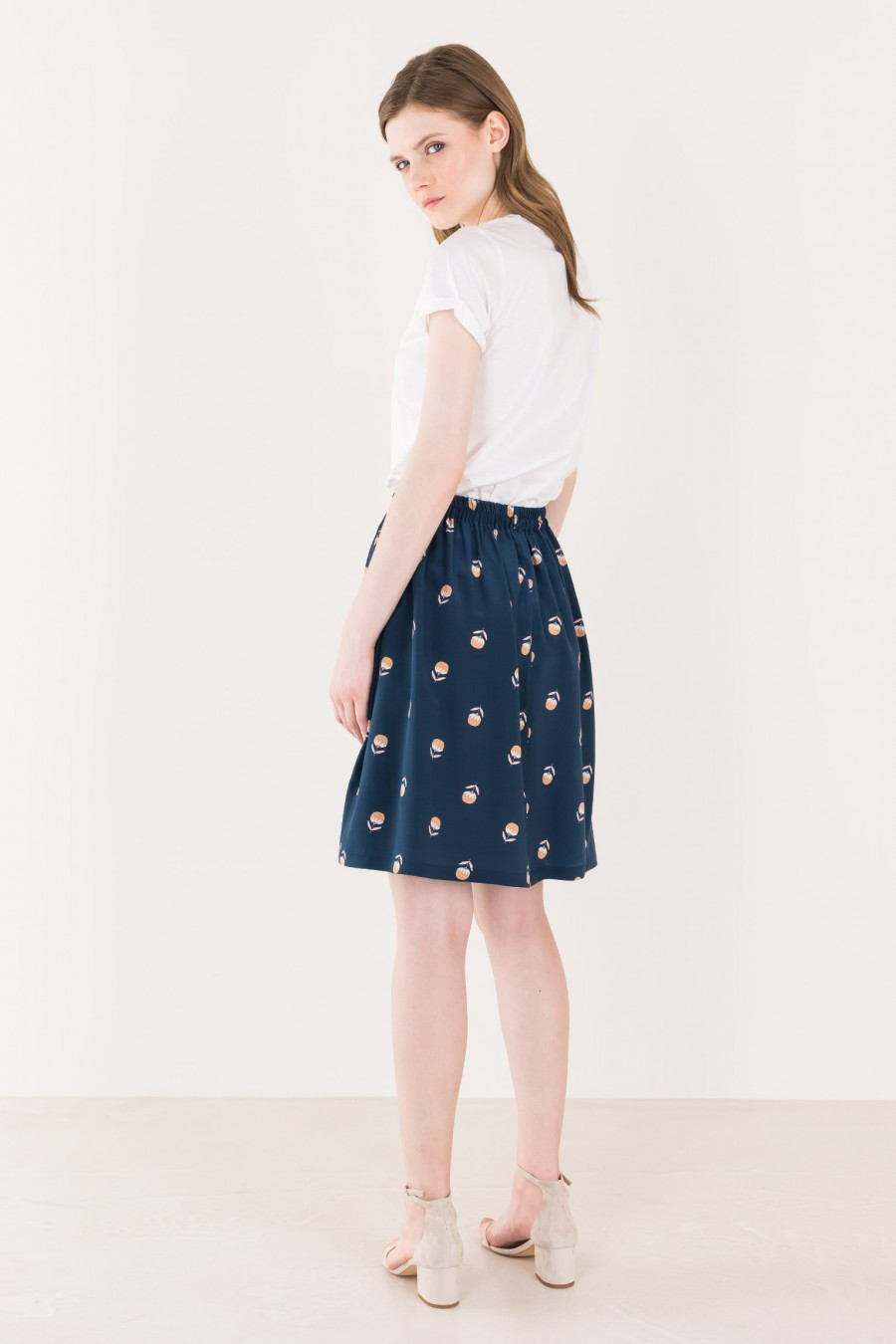 Blue skirt with fowers pattern
