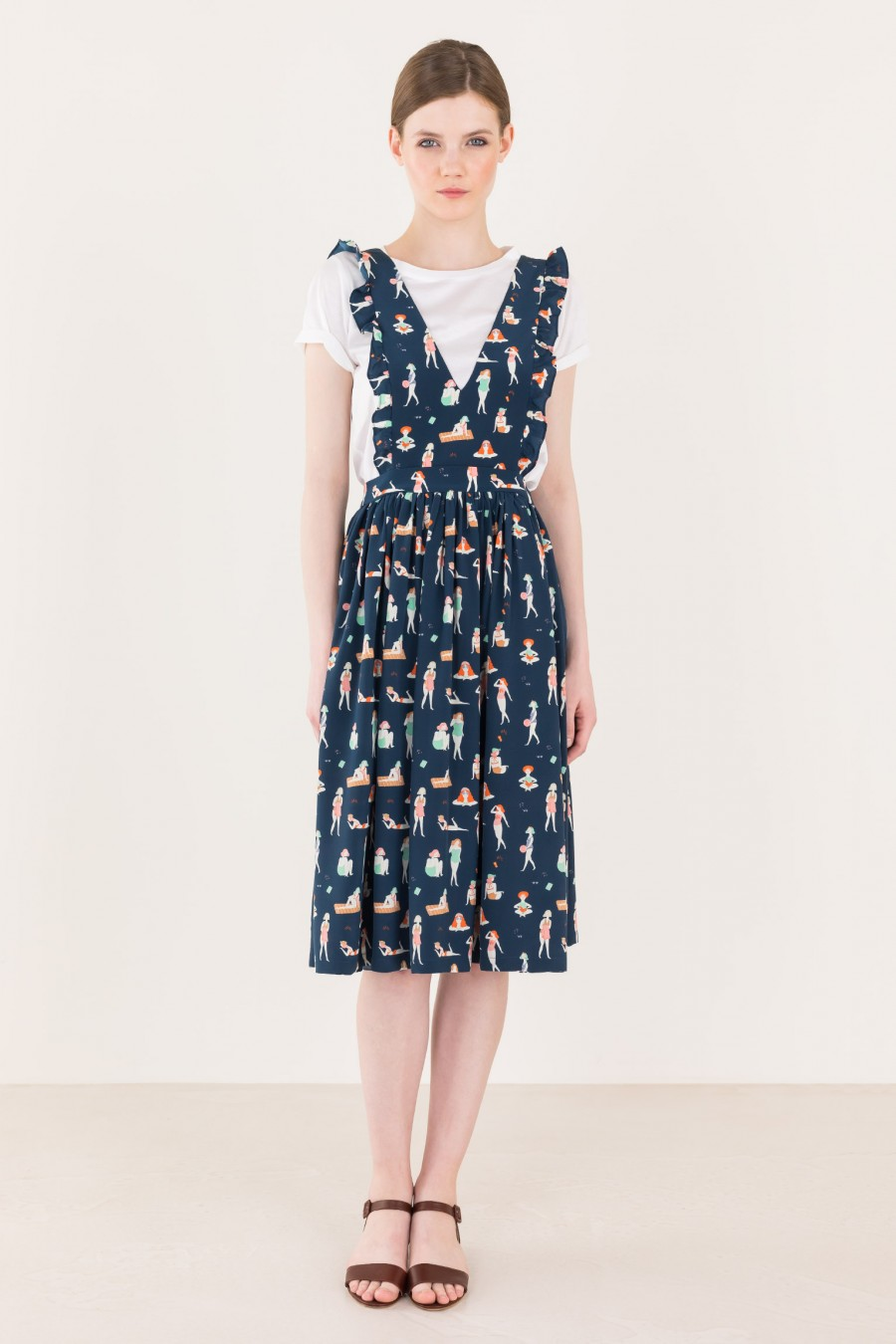 Dungarees dress with pattern