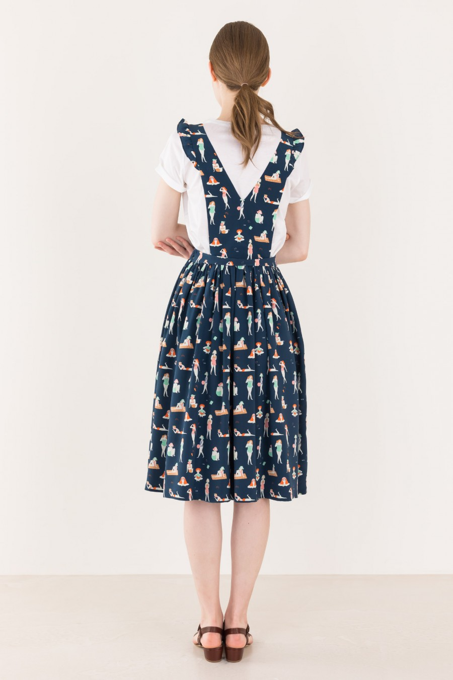 Dungarees dress with wide skirt