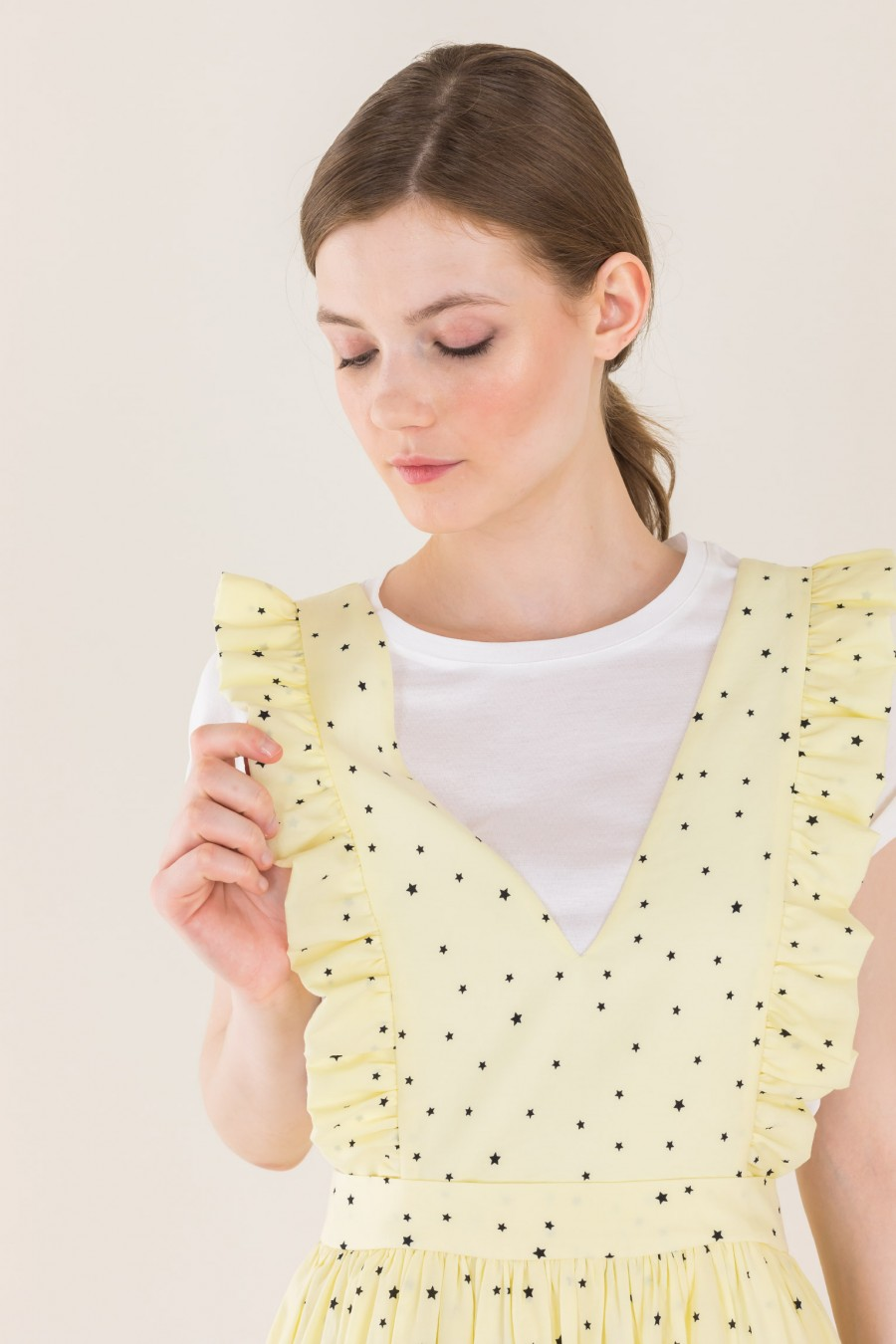 Pale yellow dungarees dress
