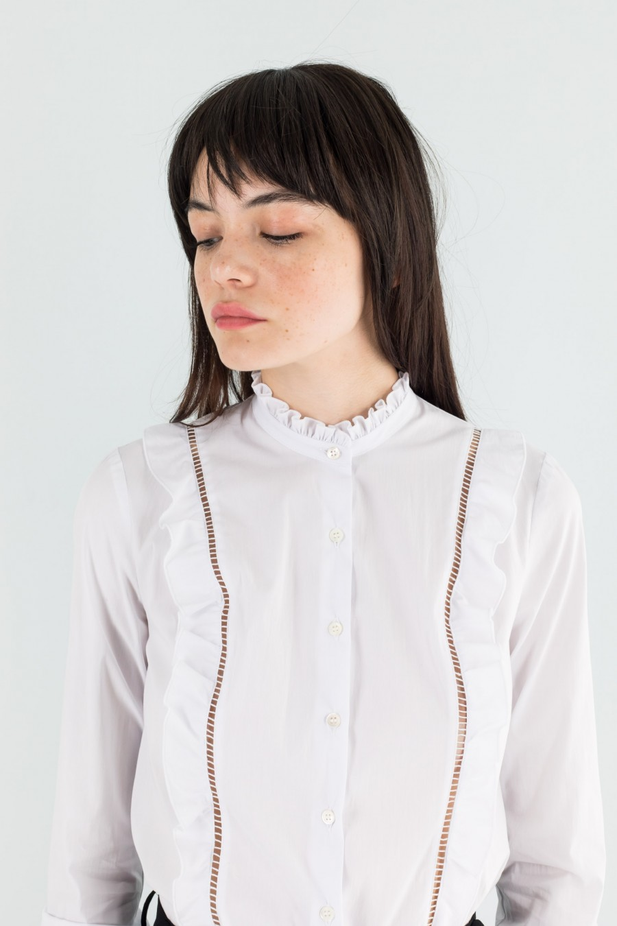 White high collar shirt