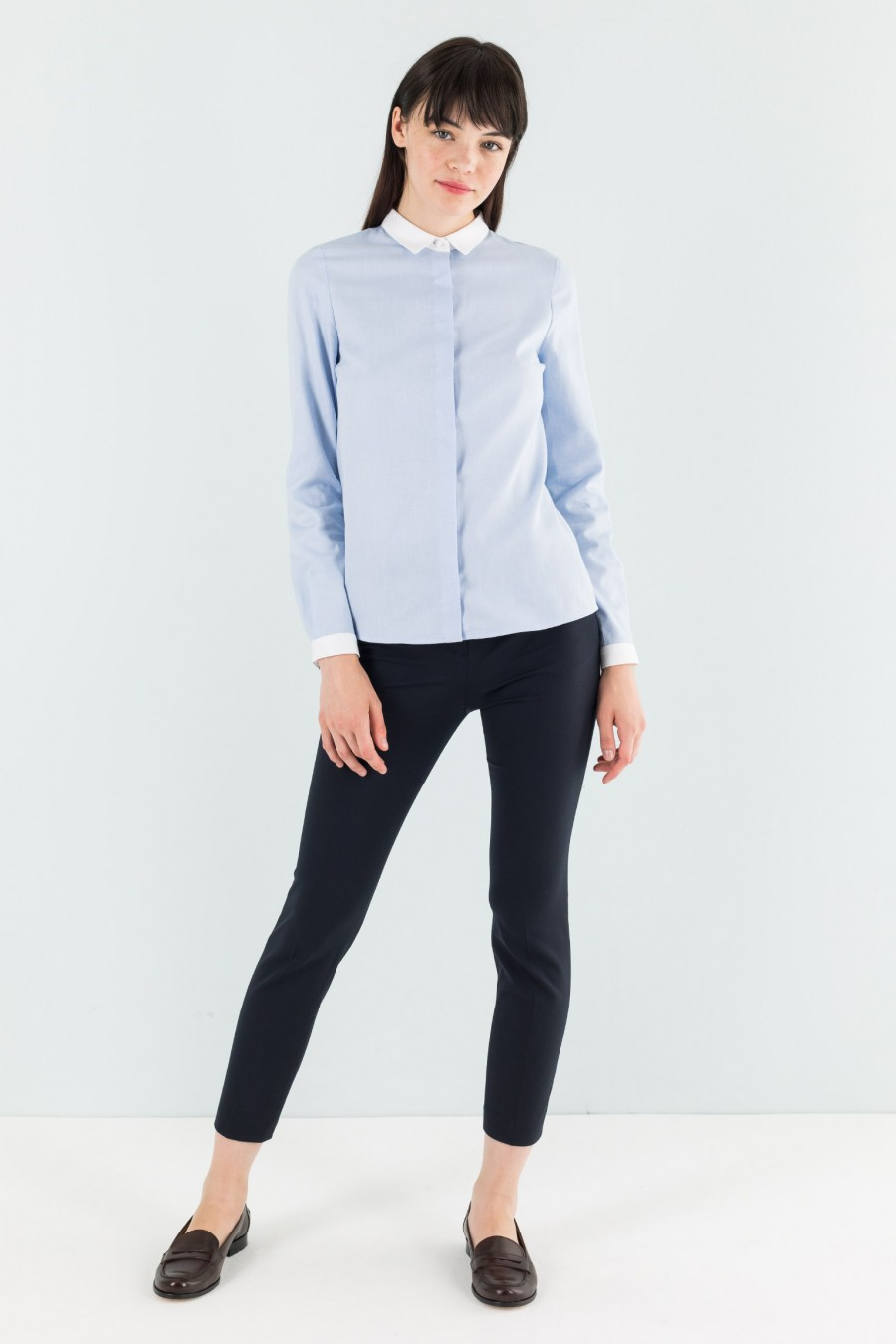Cotton shirt with contrasting collar