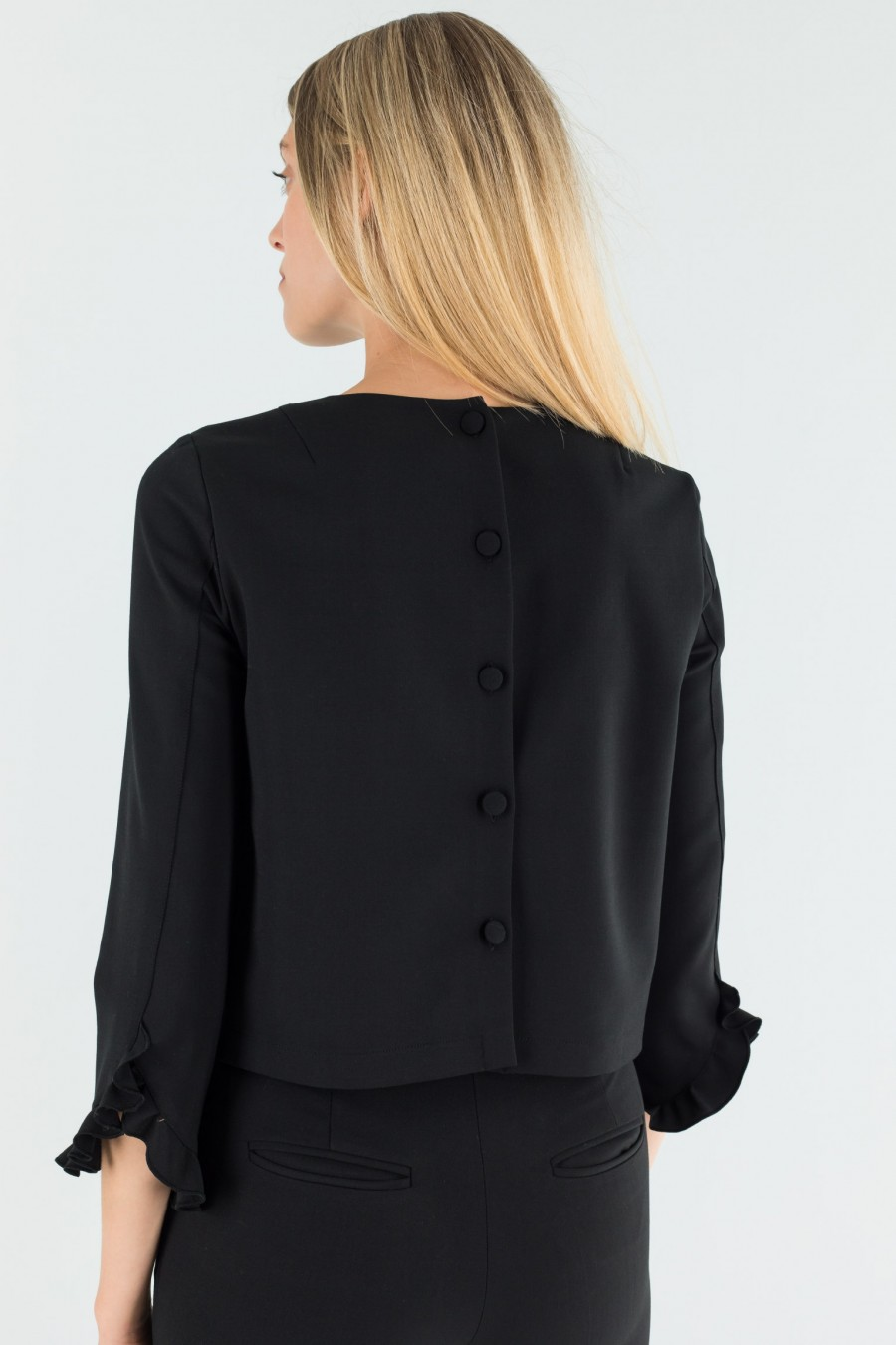 Black top with ruches