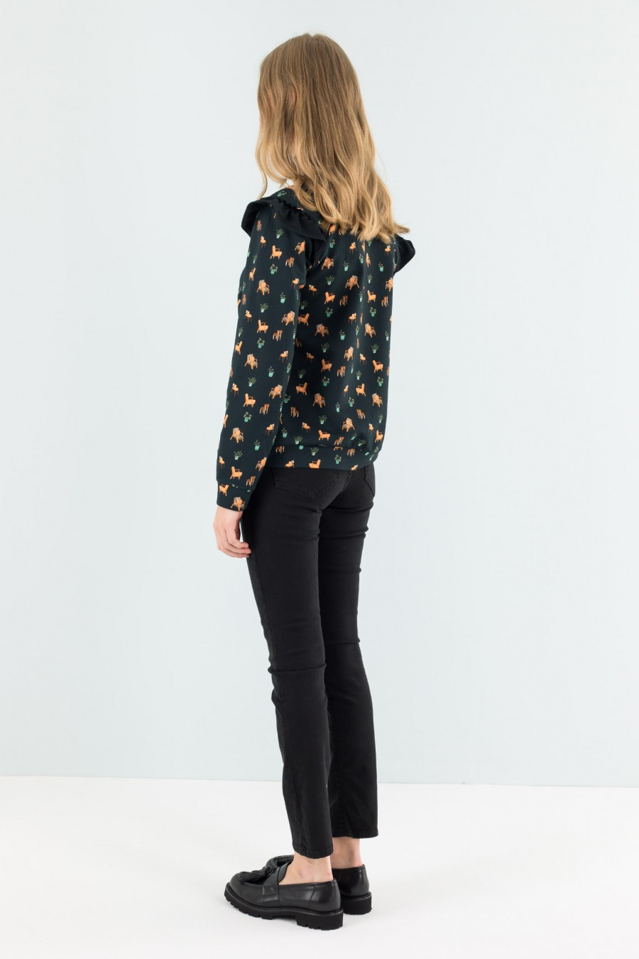 Print comfortable fit sweater