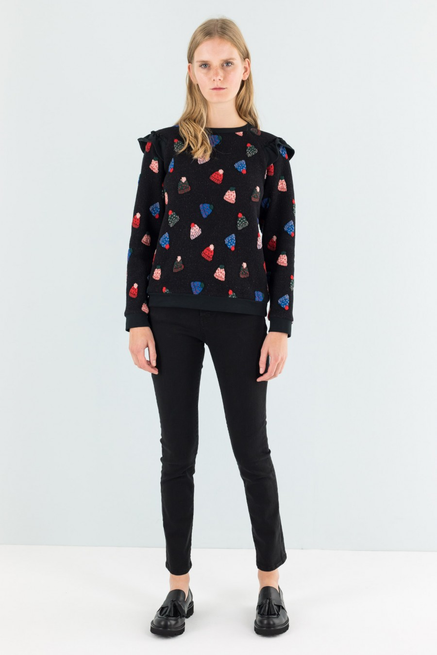 Shirt with berets pattern