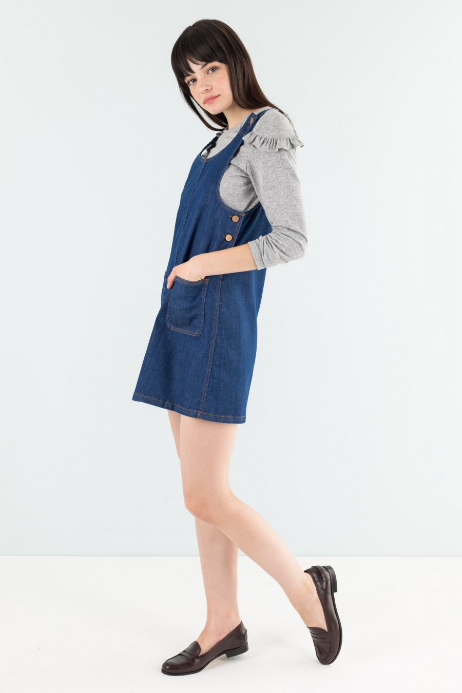 Pinafore dress in stretch jeans