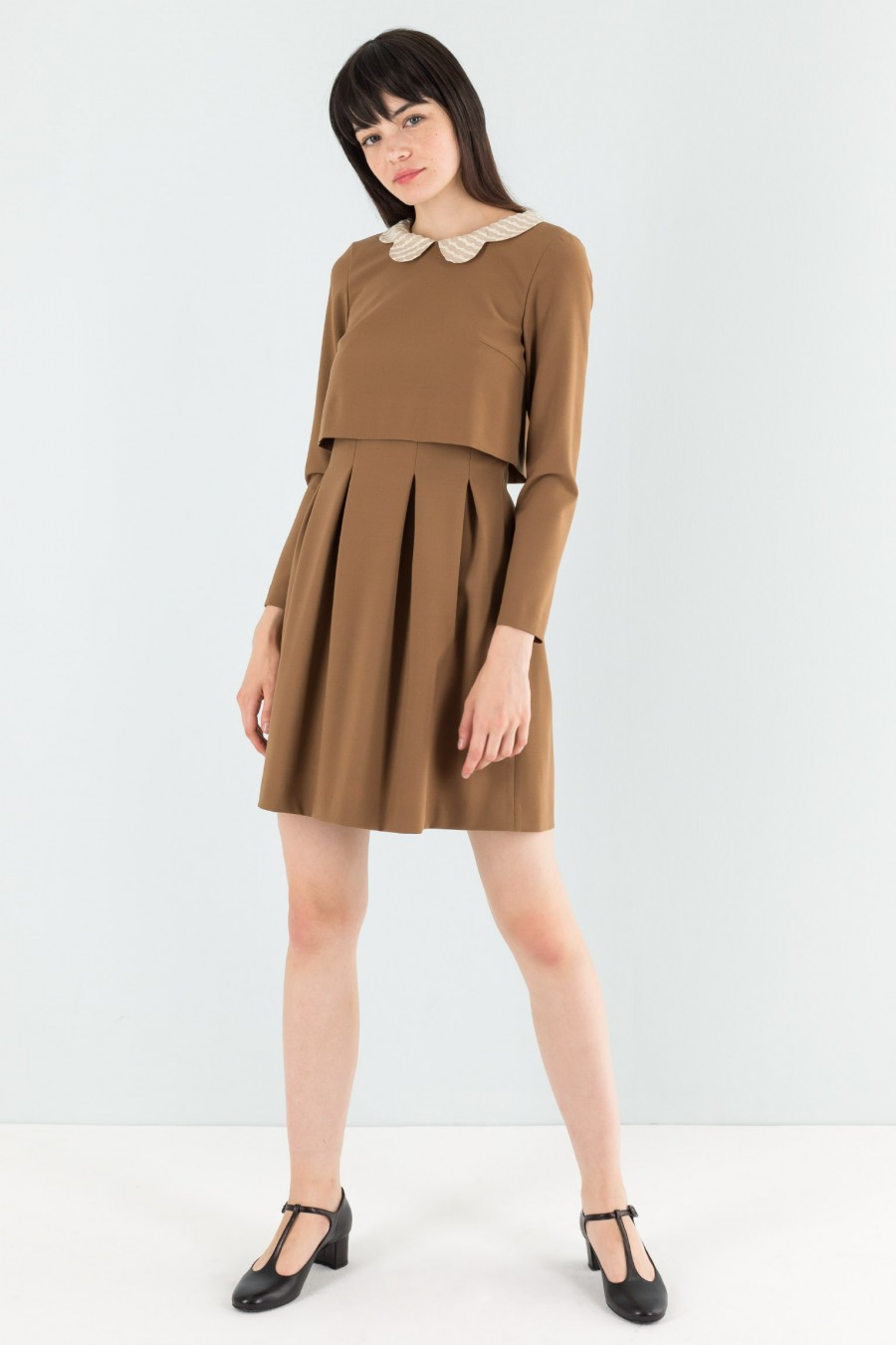 Pleated camel dress