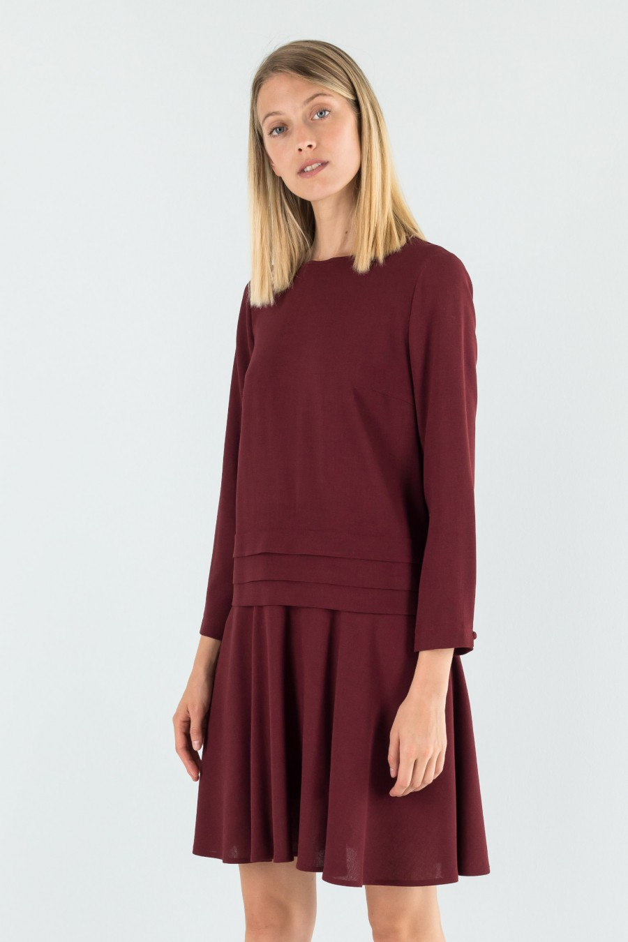 Virgin wool and viscose burgundy dress