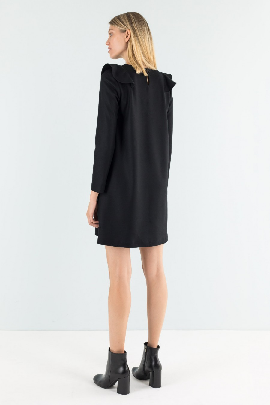 Black wool dress with ruches
