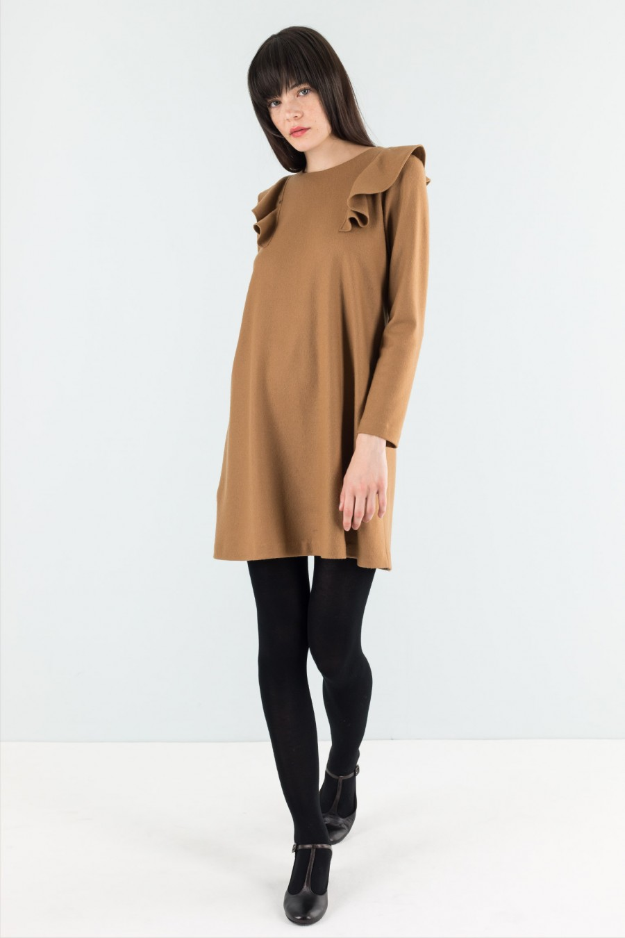 Brown long sleeved dress
