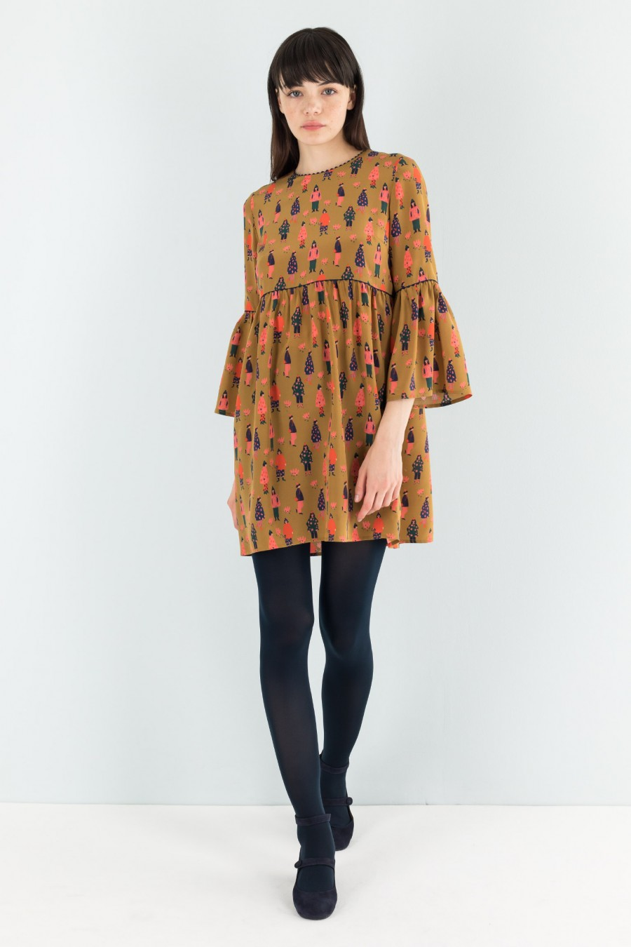 Silk dress with bell sleeves