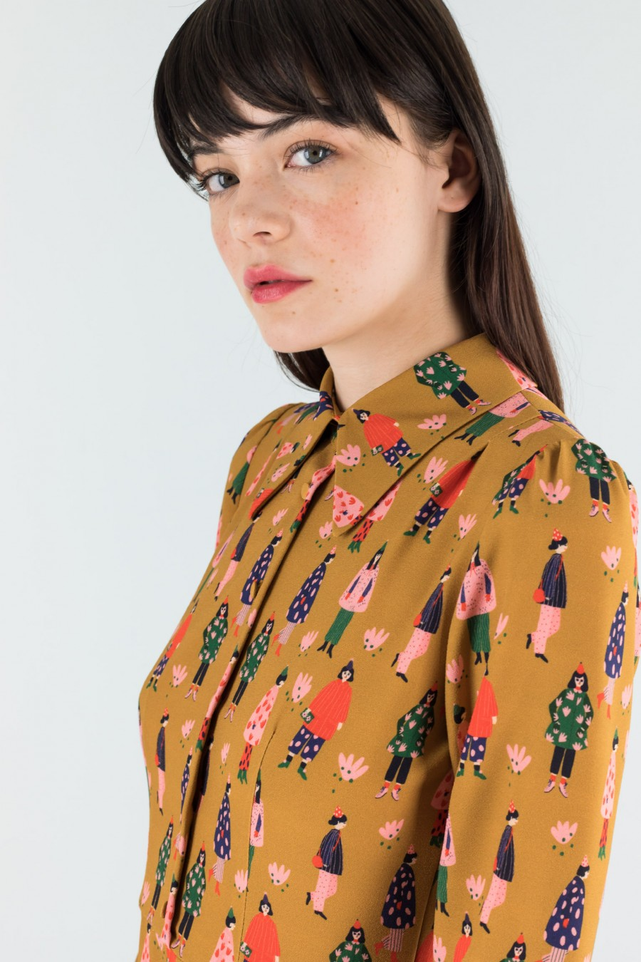 Mustard dress with colourful pattern