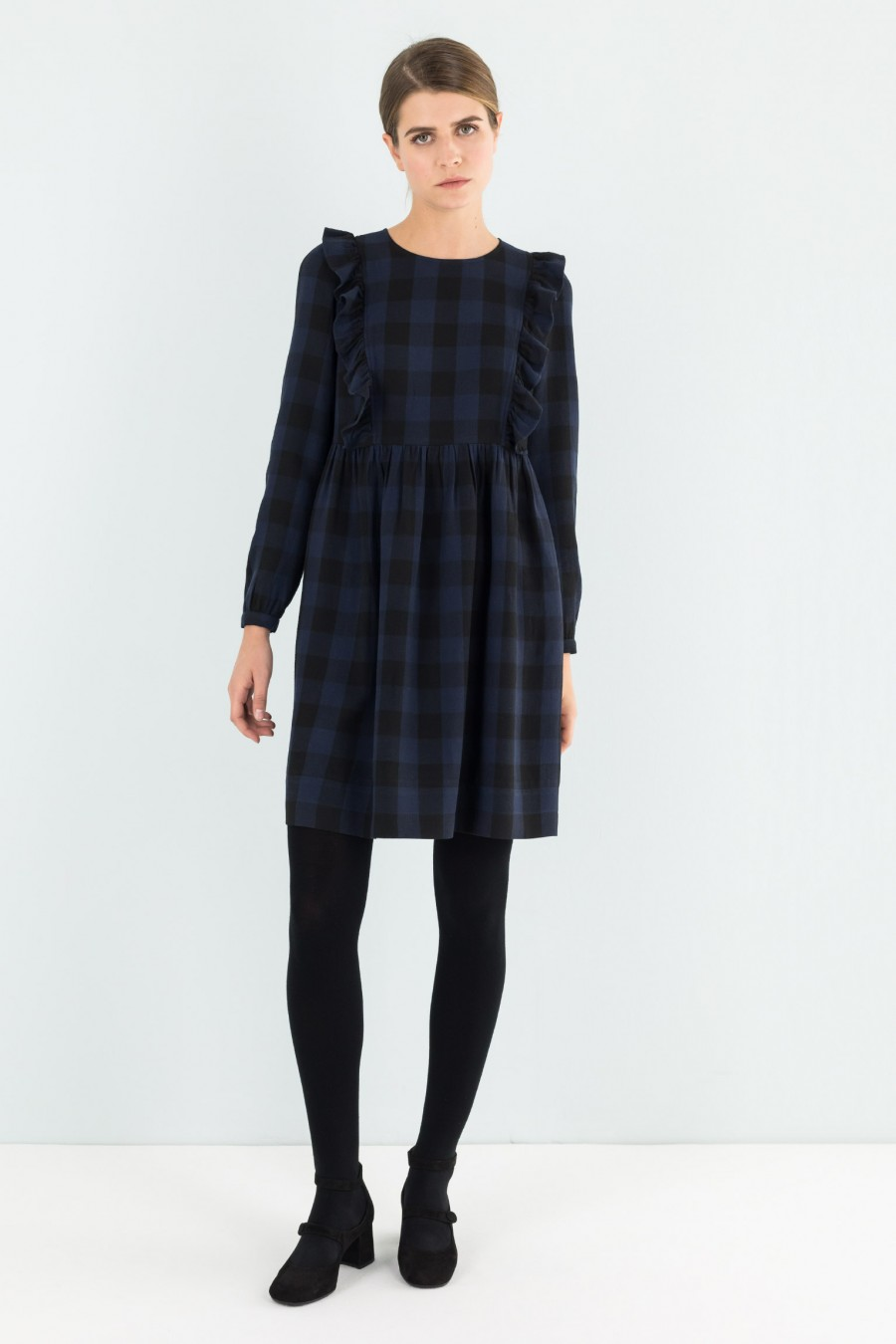 Check dress with ruffle detail