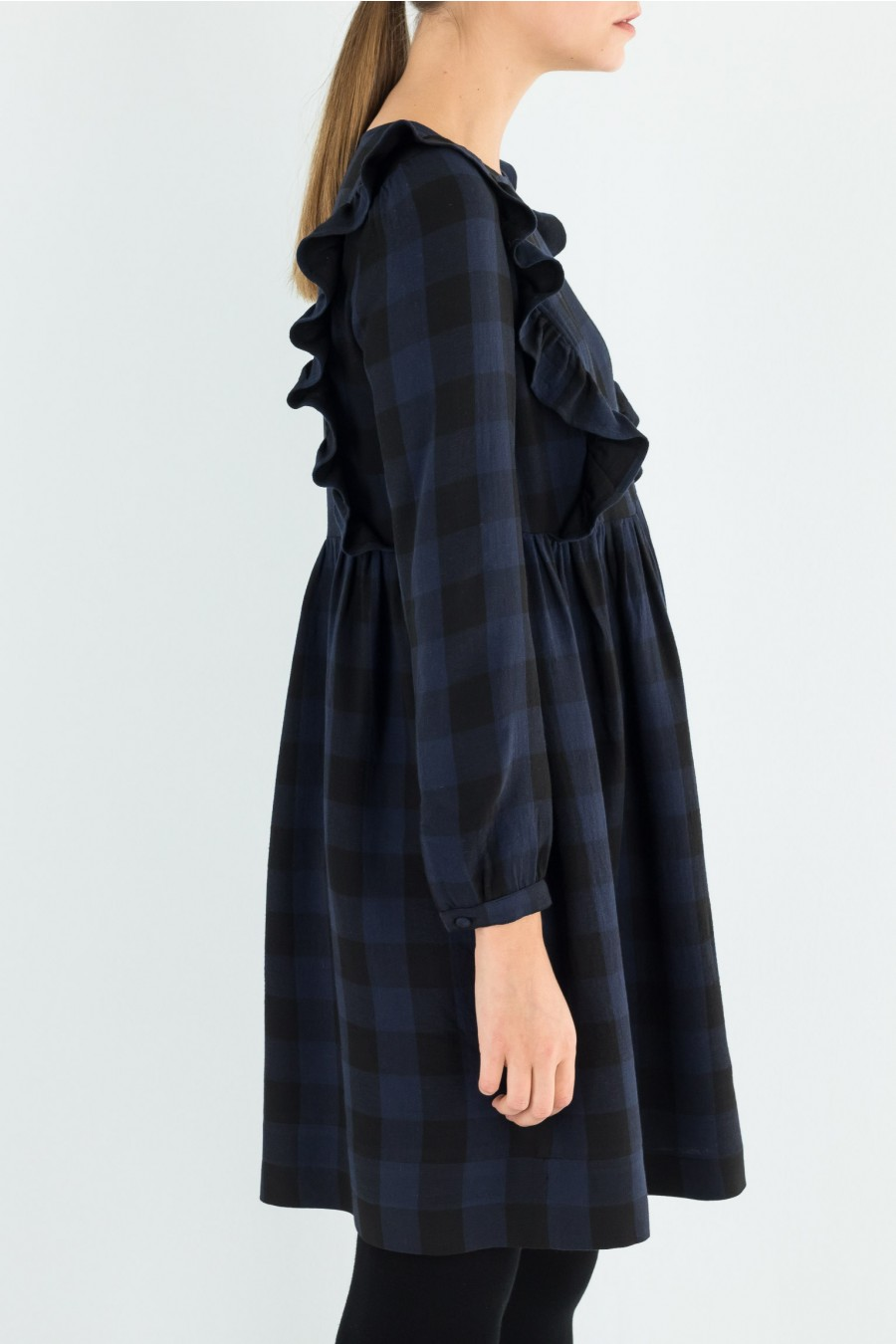 Blue and black dress with ruffle