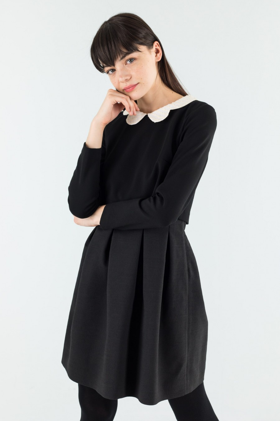 Black viscose and wool dress