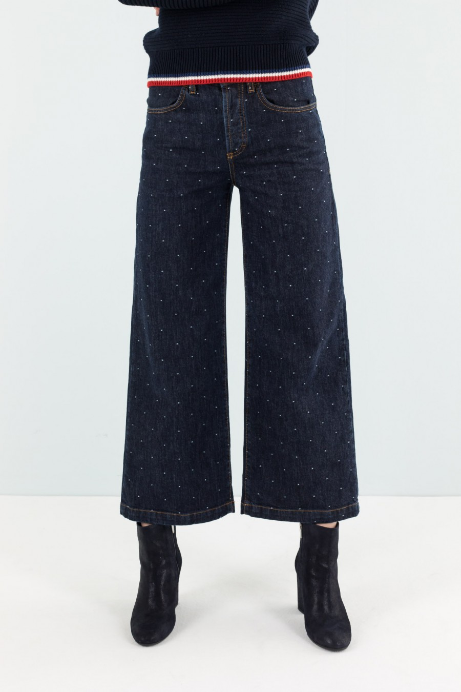 polka dots jacquard denim