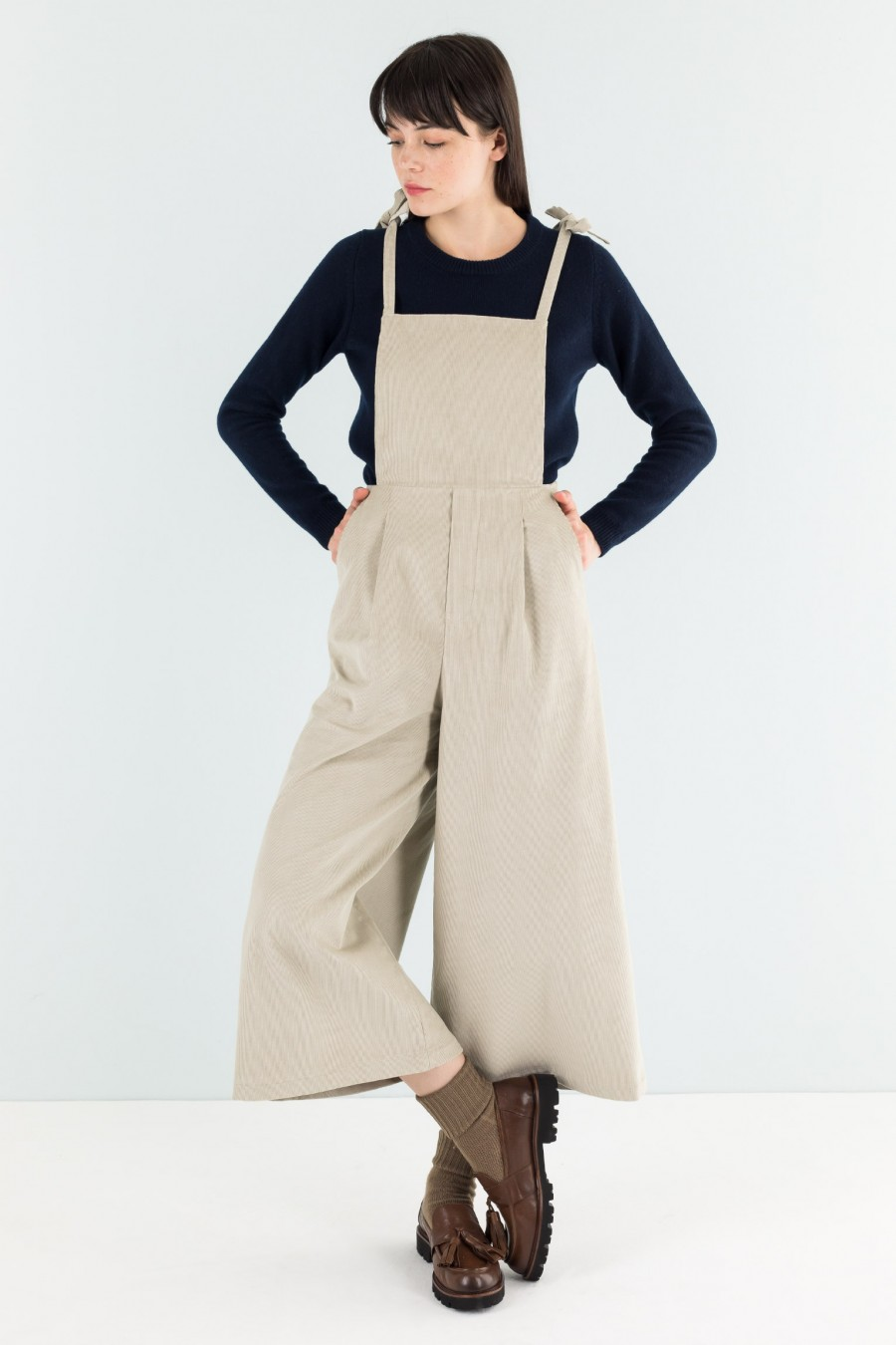 Beige overalls with thin straps