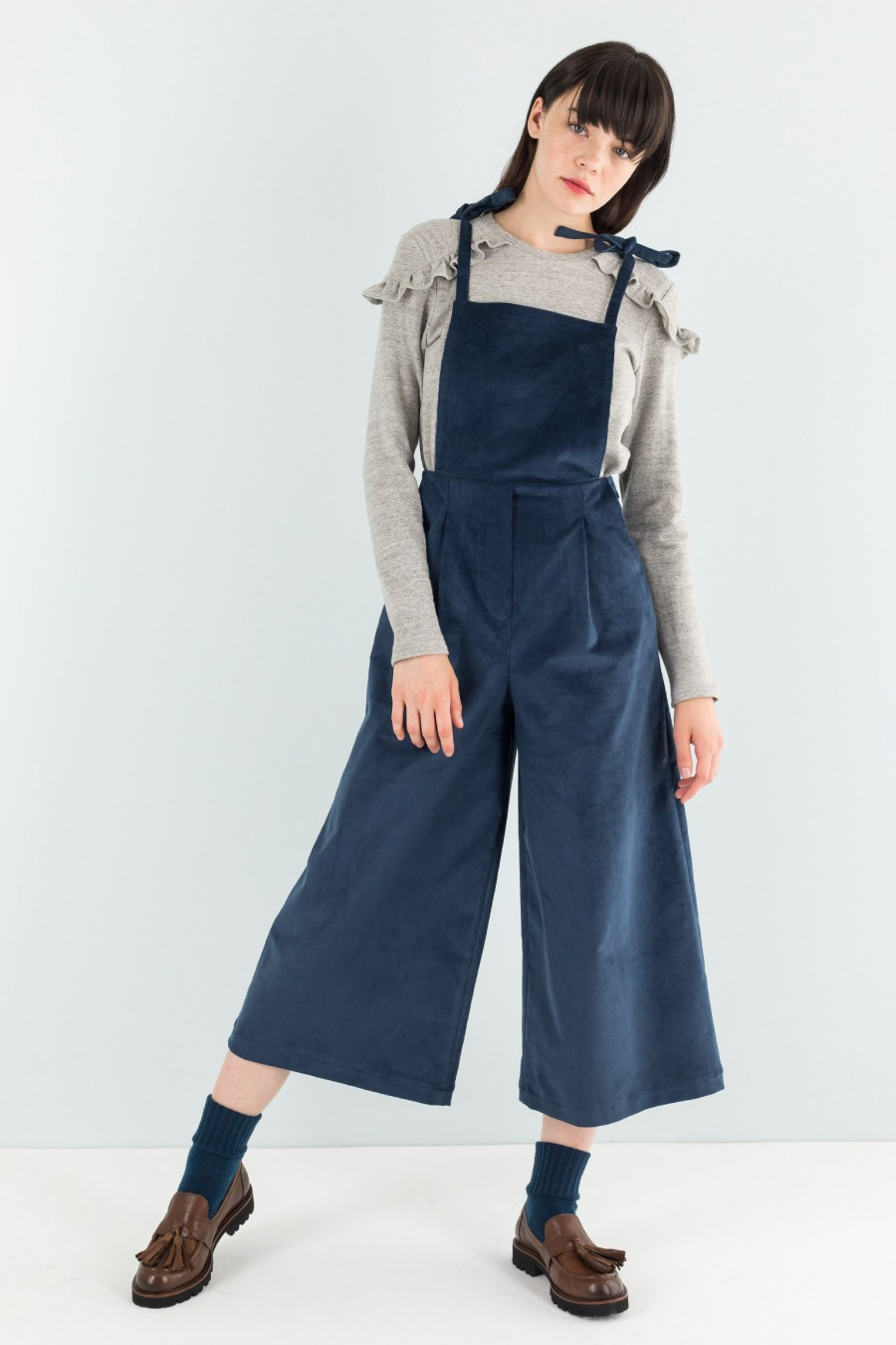 Wintery navy blue overalls