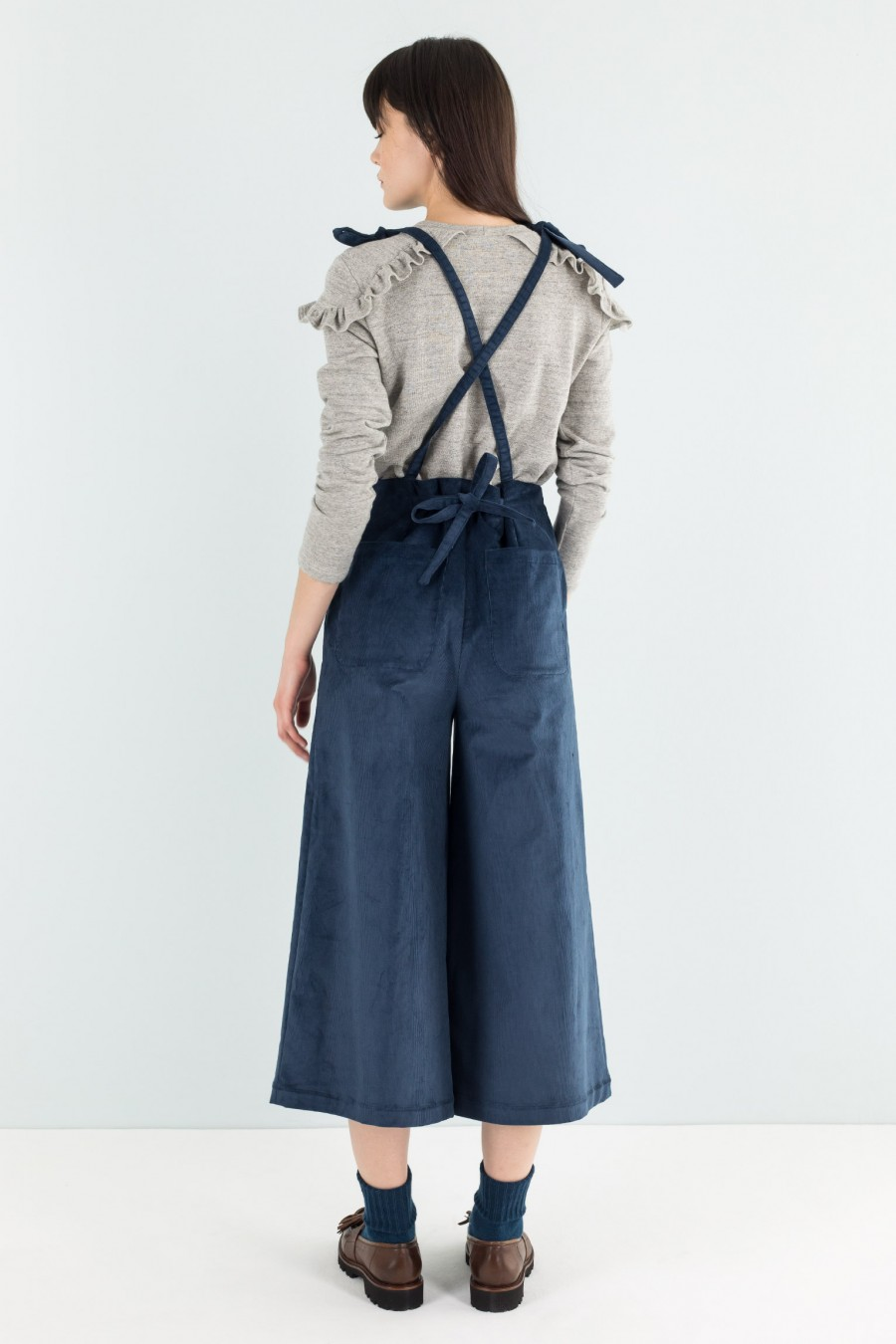 Navy blue velvet overalls with palazzo pants