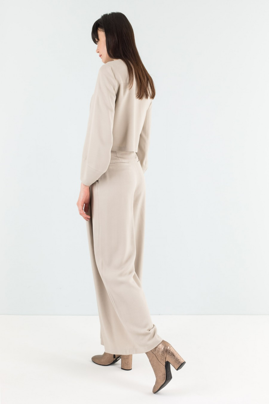 Viscose and virgin wool wide-leg trousers
