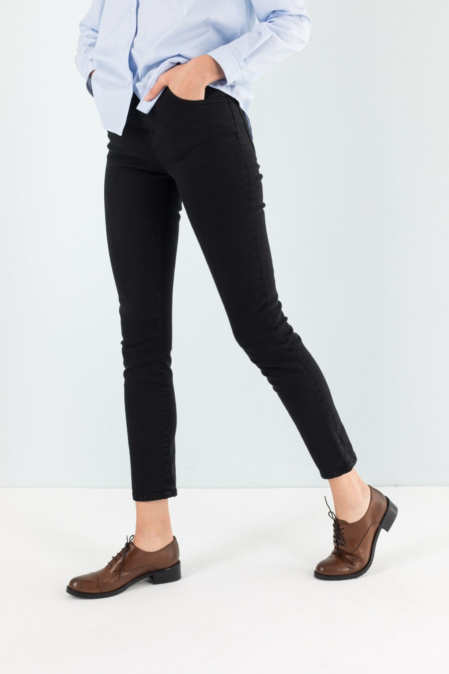 Black figure hugging jeans