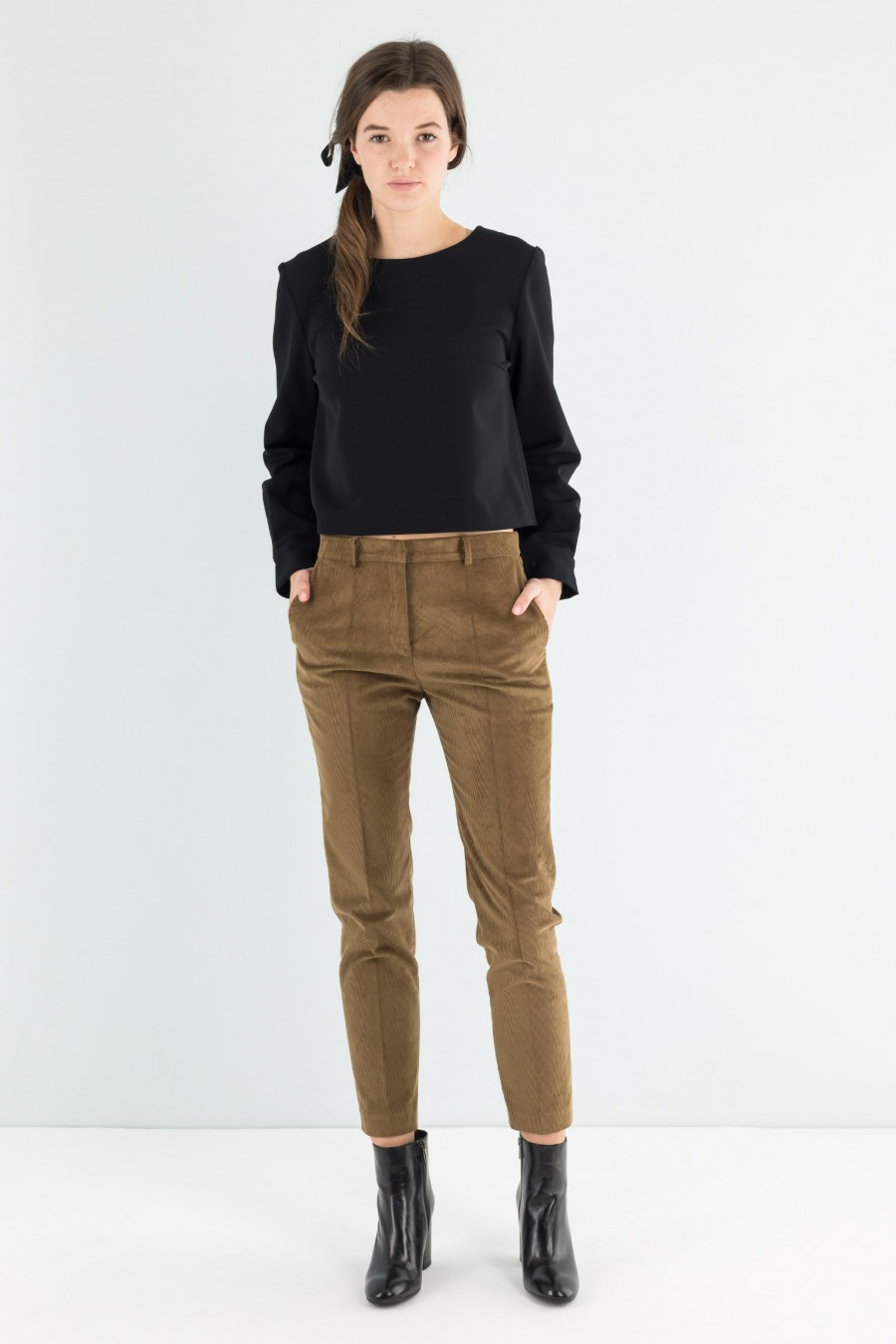 Biscuit brown skinny trousers