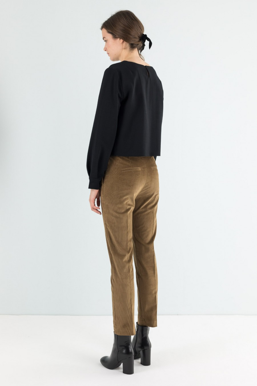 Needle cord brown trousers