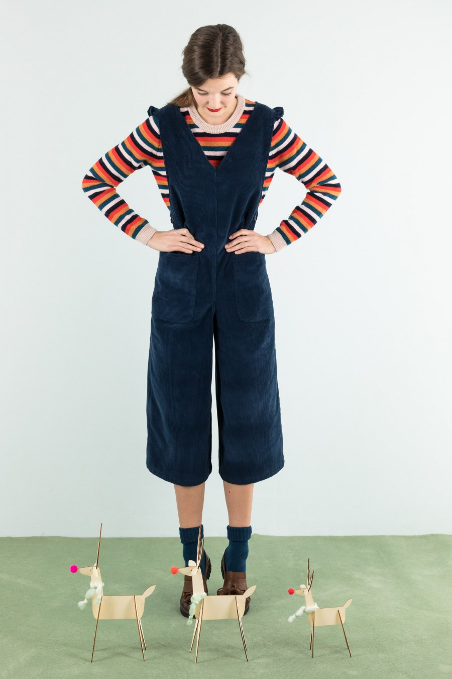 Corduroy overall with ruffles