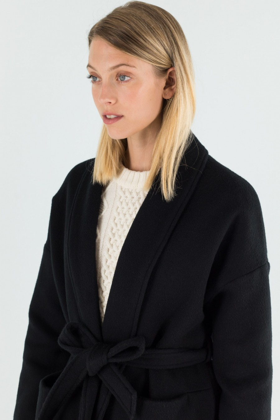 Double cashmere black coat