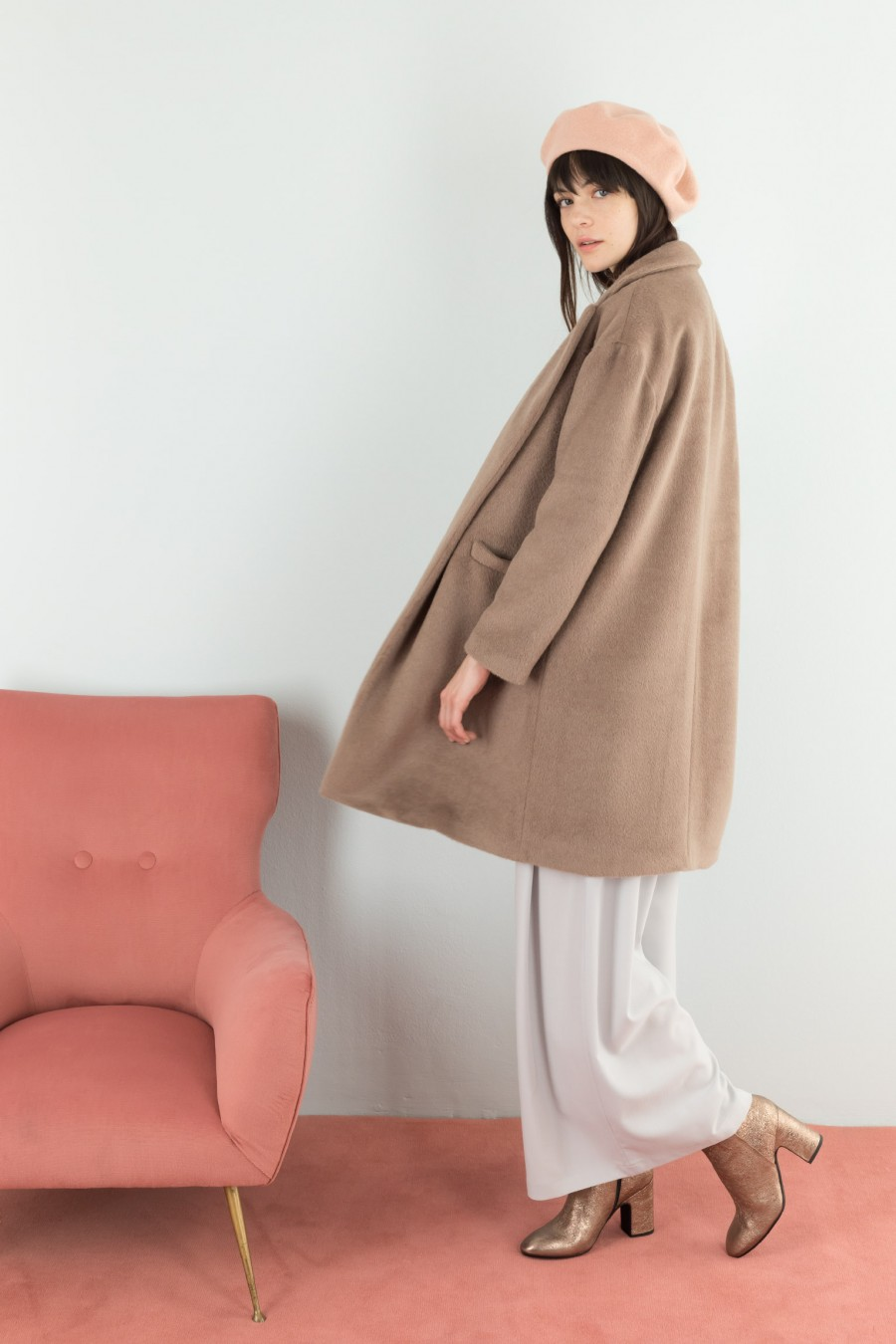 Coat in alpaca fabric