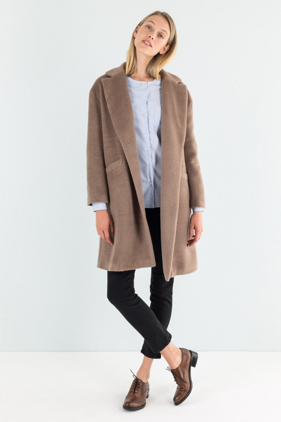 Cappotto senza bottoni color cammello