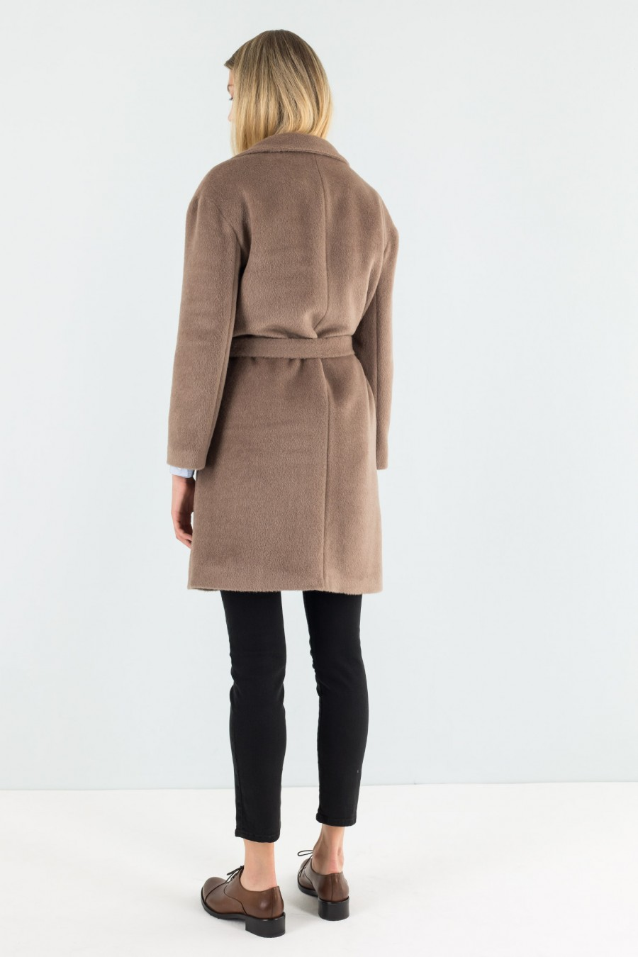 Alpaca fabric and wool camel brown coat