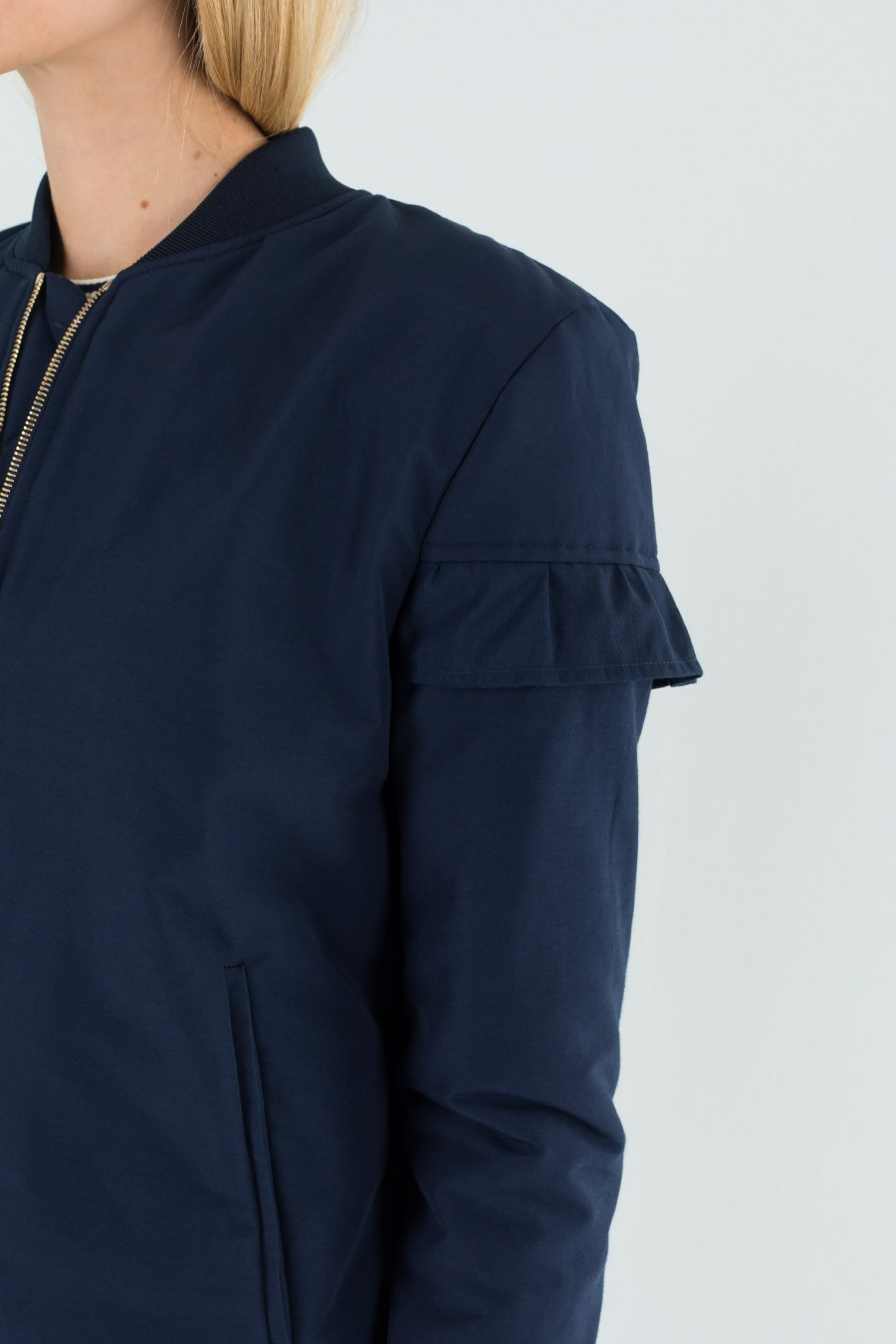 Classic bomber jacket with ruche