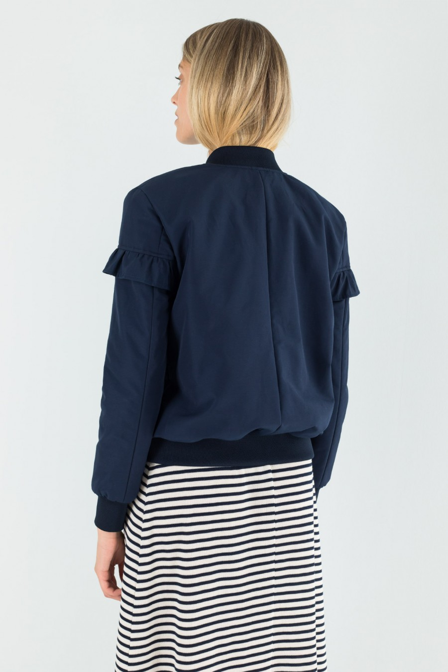 Autumn blue bomber jacket