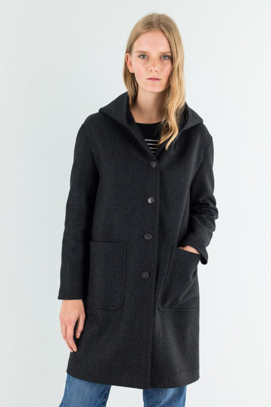 gray anthracite fish spine coat