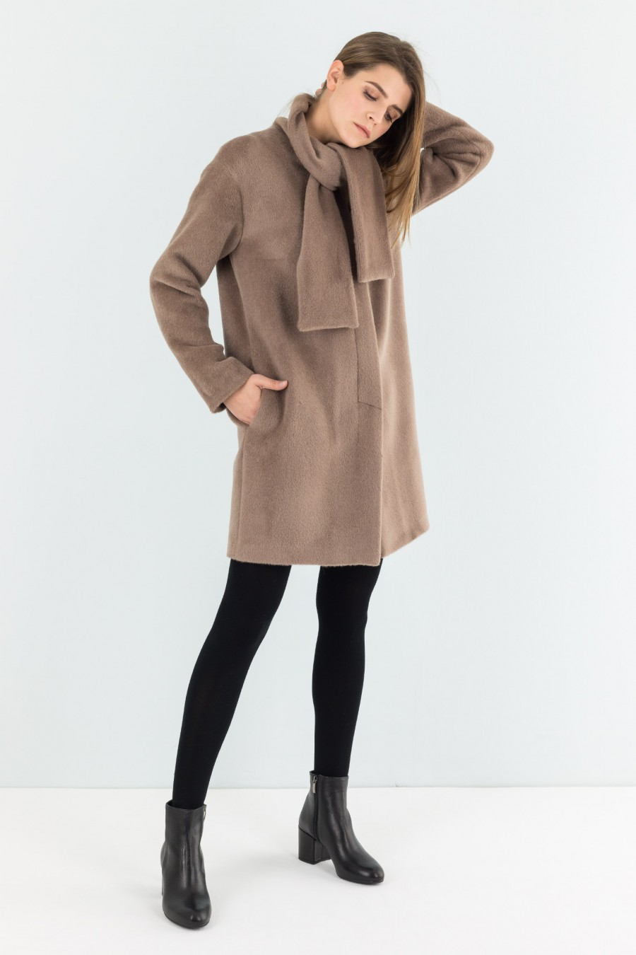coat with scarf neckline
