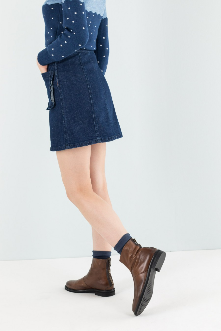 Short denim skirt with ruche