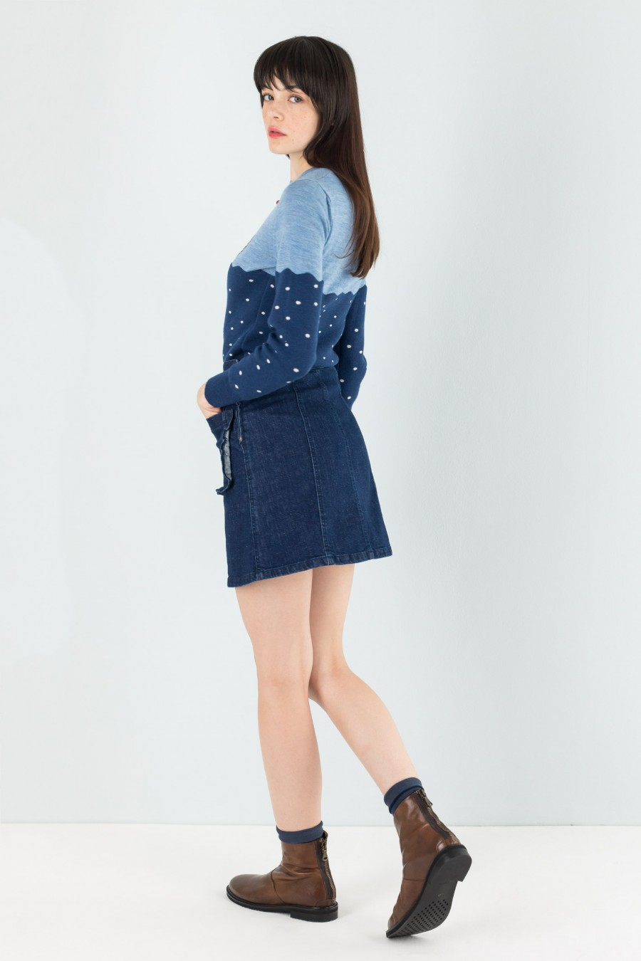 Mini denim skirt with ruche on the pockets