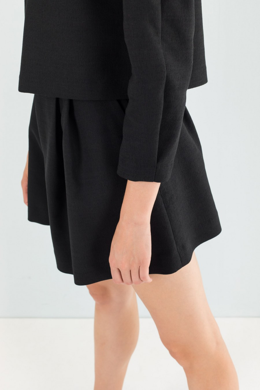 Black top and shorts culottes co-ord