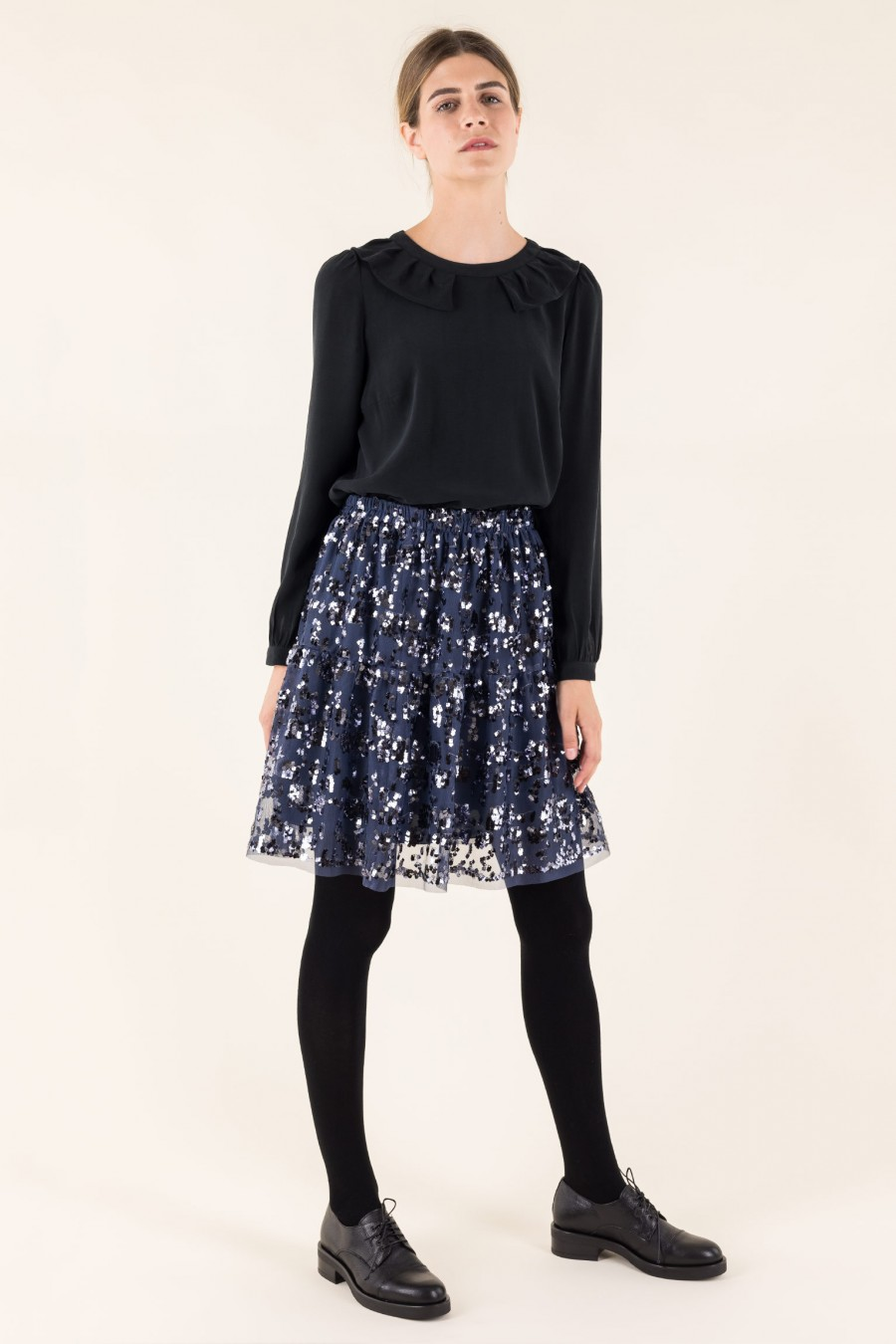 Skirt with blue sequins