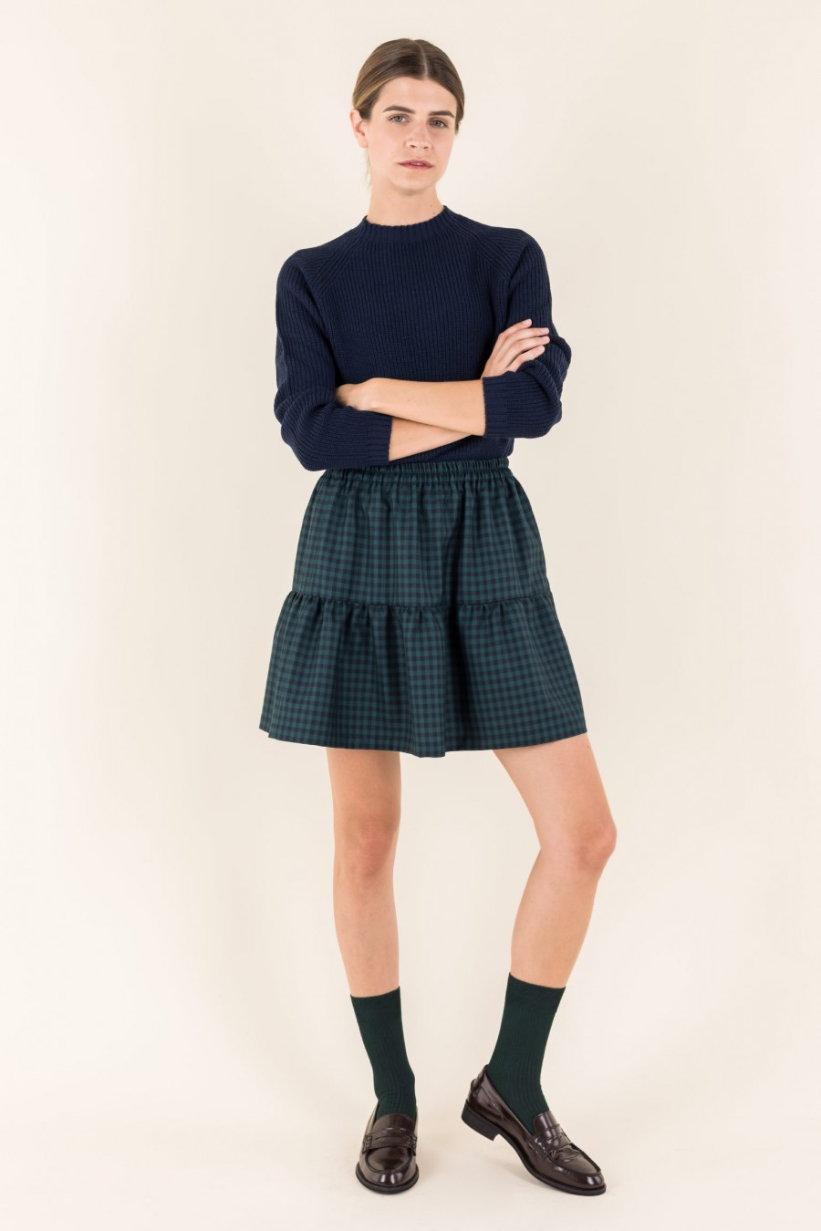 Green and blue checked skirt