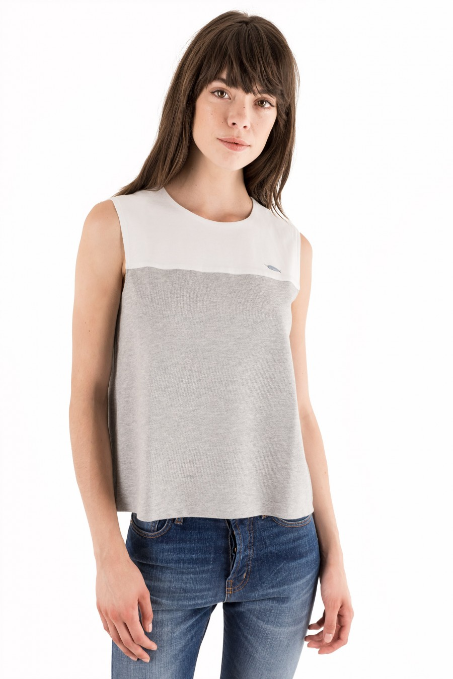 White and grey cotton top