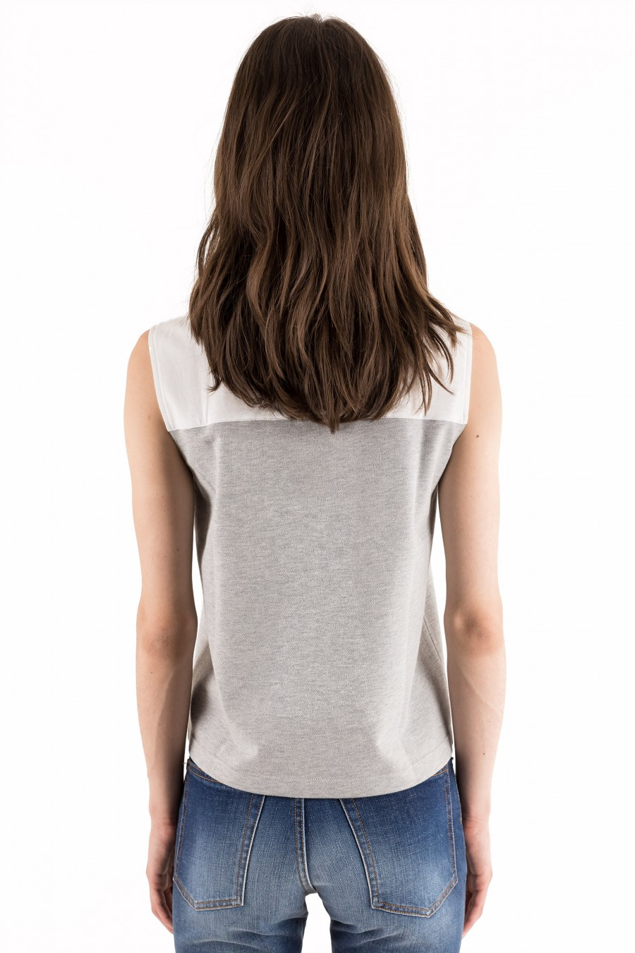 White and grey sleeveless top