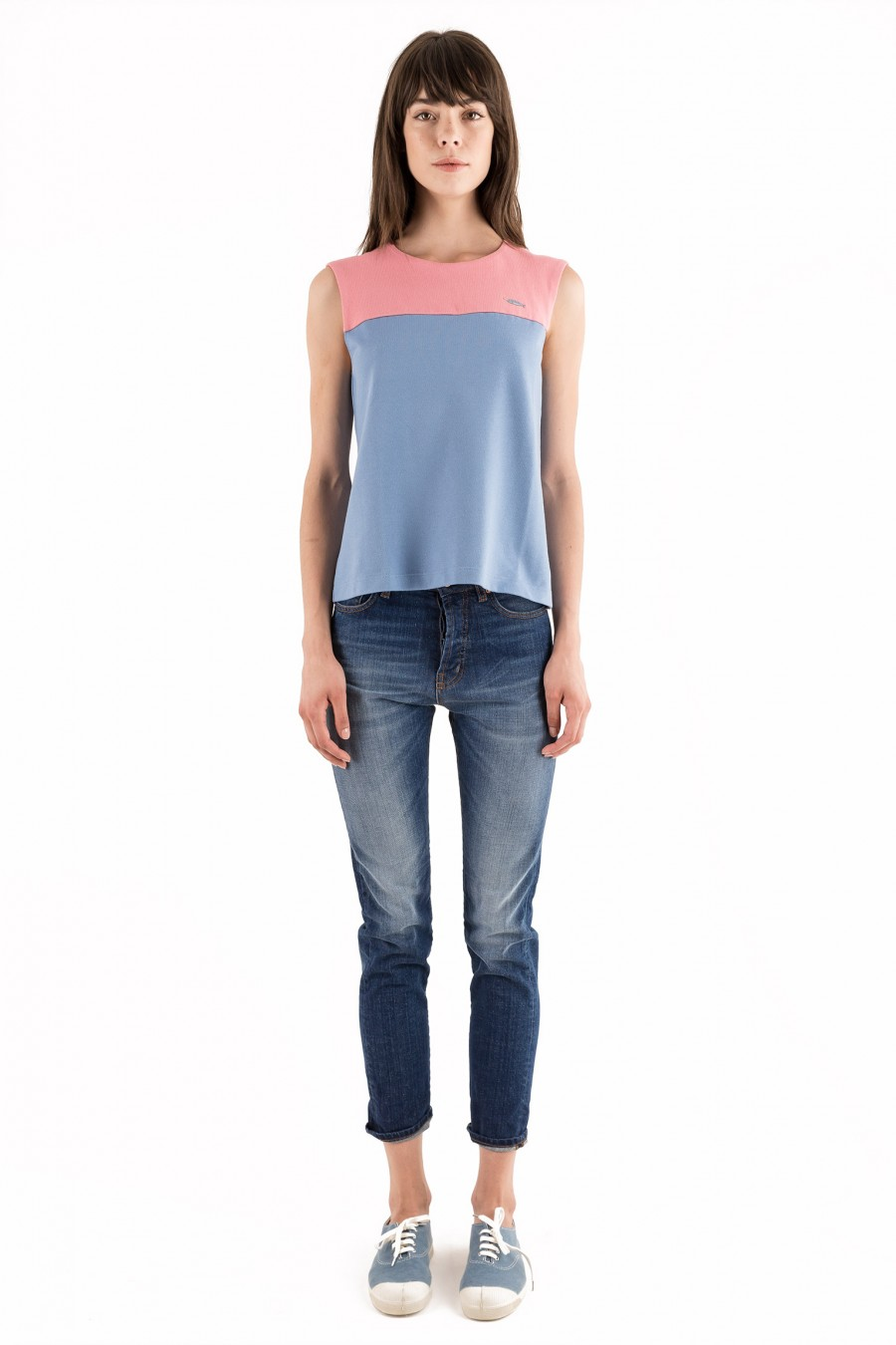 Pink and light blue top