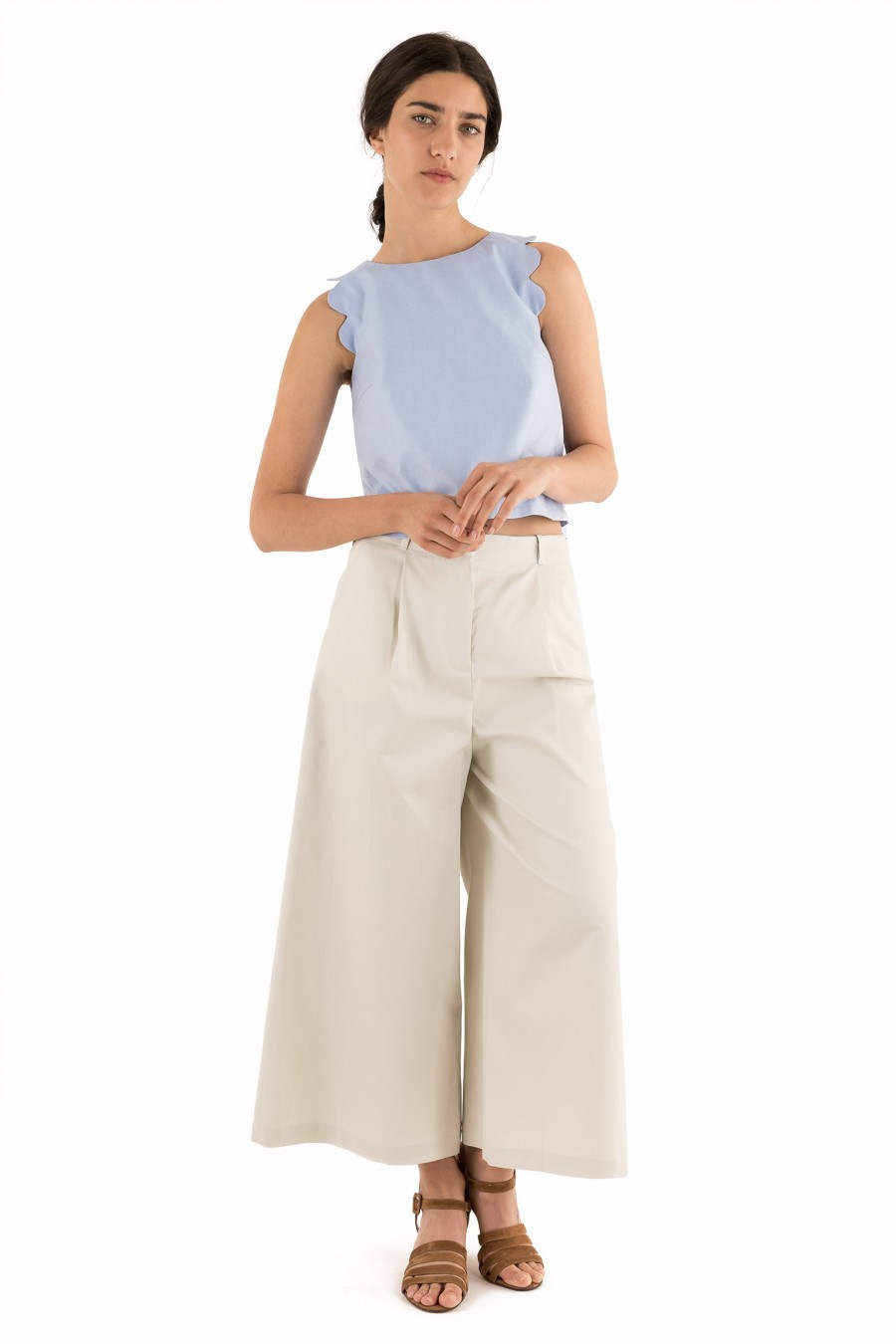 Top with scalloped armholes